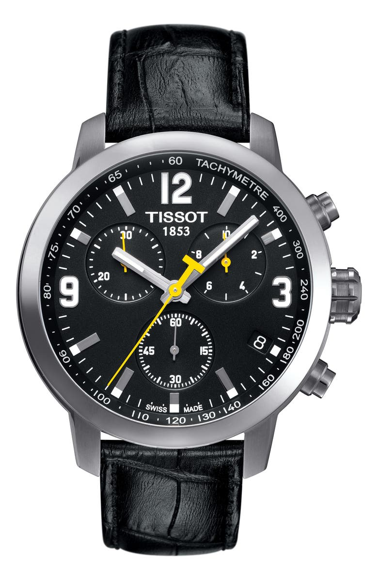 TISSOT PRC200 Chronograph Leather Strap Watch, 42mm, Main, color, 001