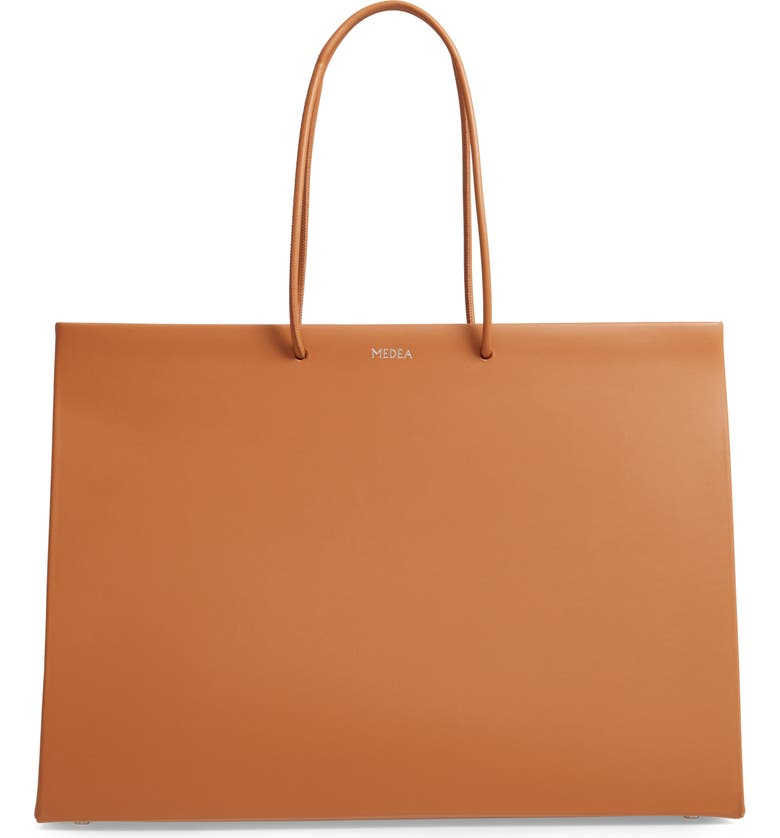 MEDEA Venti Prima Calfskin Leather Bag, Main, color, BROWN