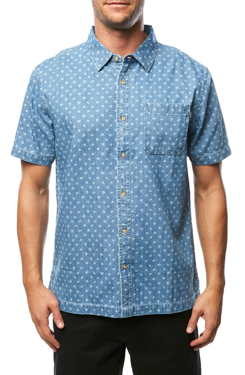 O'NEILL Palm Brawl Print Short Sleeve Denim Button Up Sport Shirt, Main, color, CAPTAINS BLUE