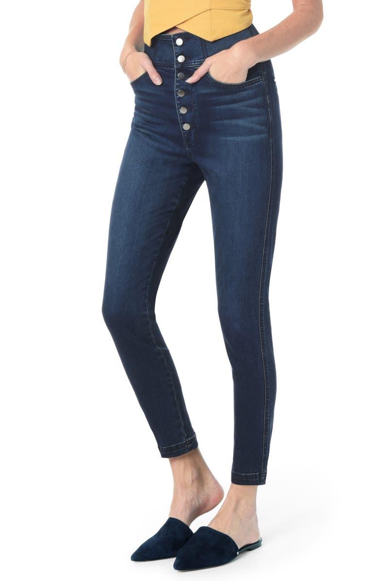 JOE'S Button Fly High Waist Ankle Skinny Jeans, Main, color, SHEENA