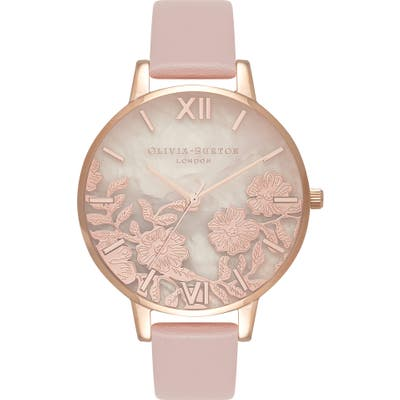 Olivia Burton Floral Rose Leather Strap Watch, (Nordstrom Exclusive)