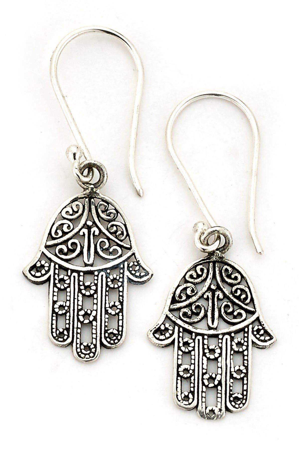Image of Samuel B Jewelry Sterling Silver Filigree Hamsa Drop Earrings