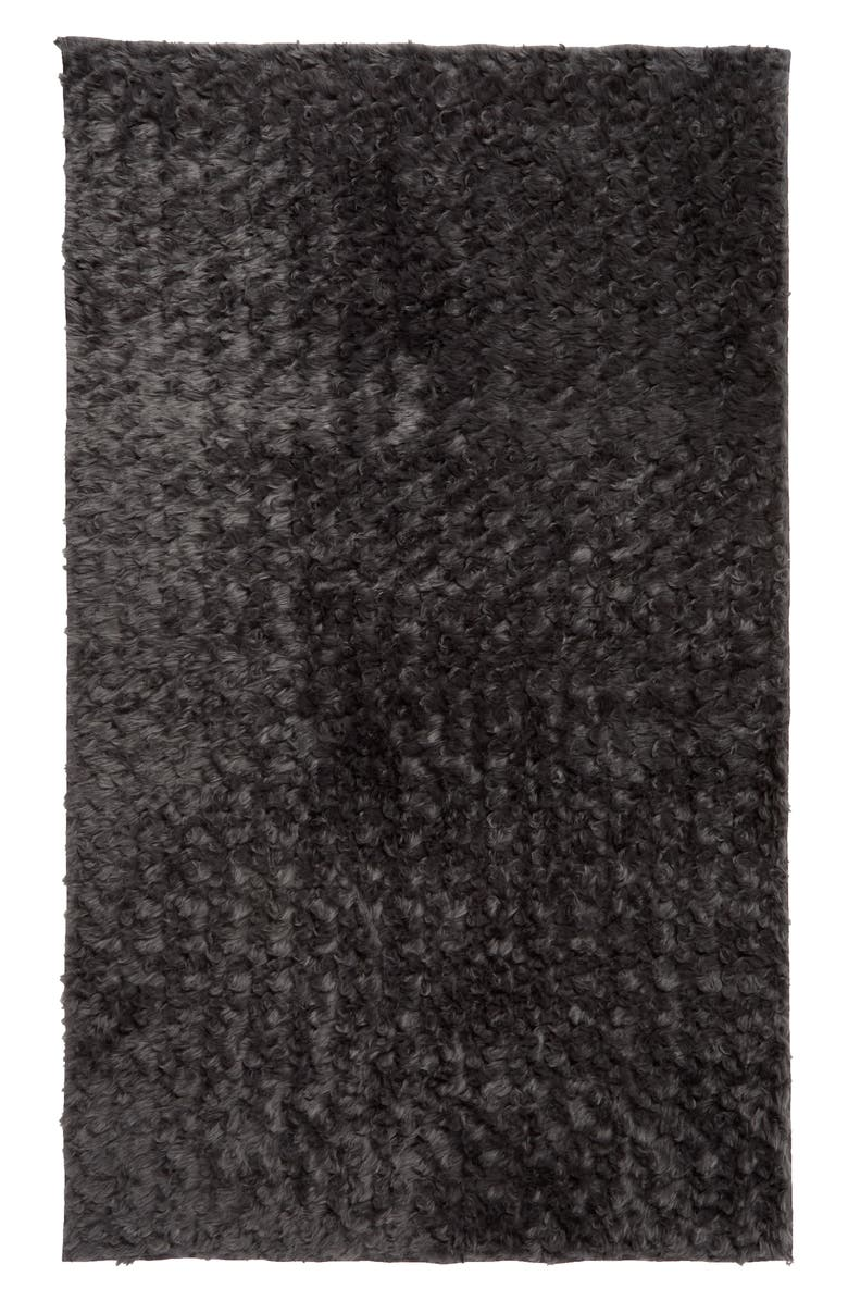 TREASURE & BOND Faux Fur Rug, Main, color, GREY ONYX