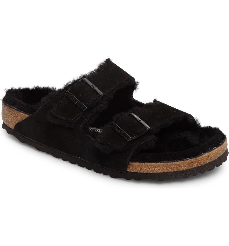 BIRKENSTOCK Arizona Slide Sandal with Genuine Shearling, Main, color, BLACK