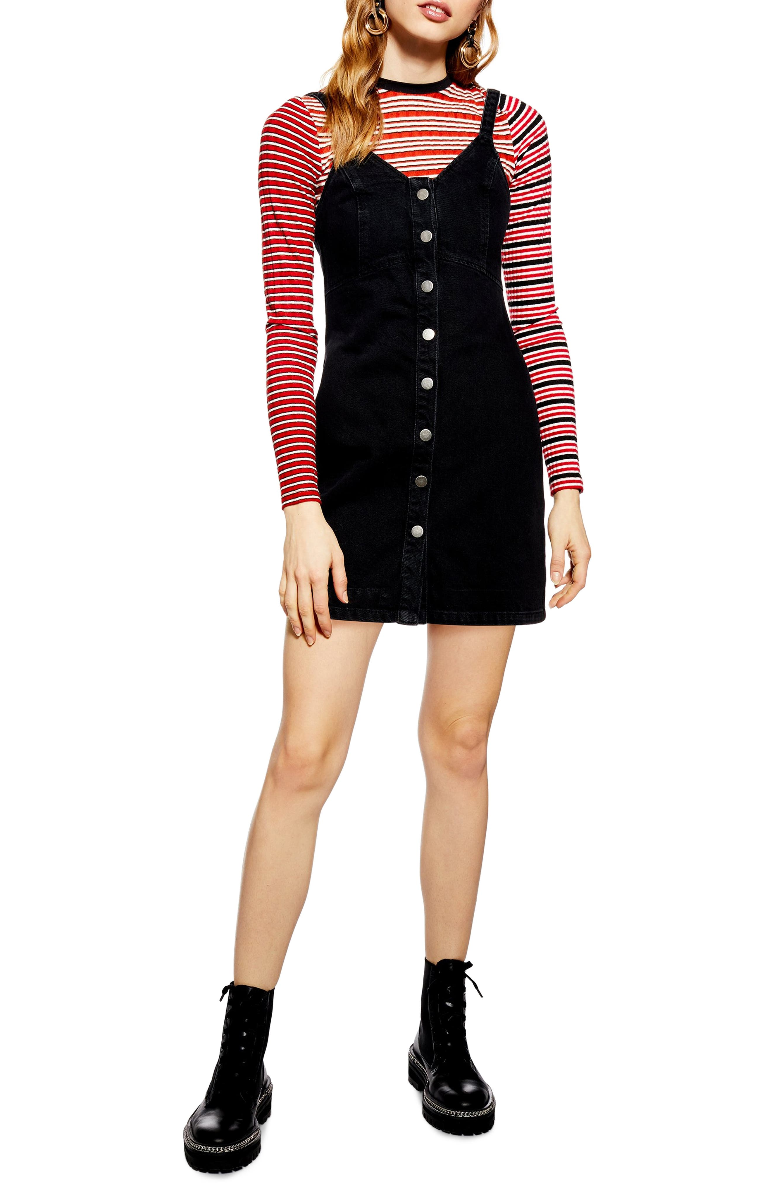 Topshop Button Front Denim Body-Con Dress, US (fits like 0) - Black