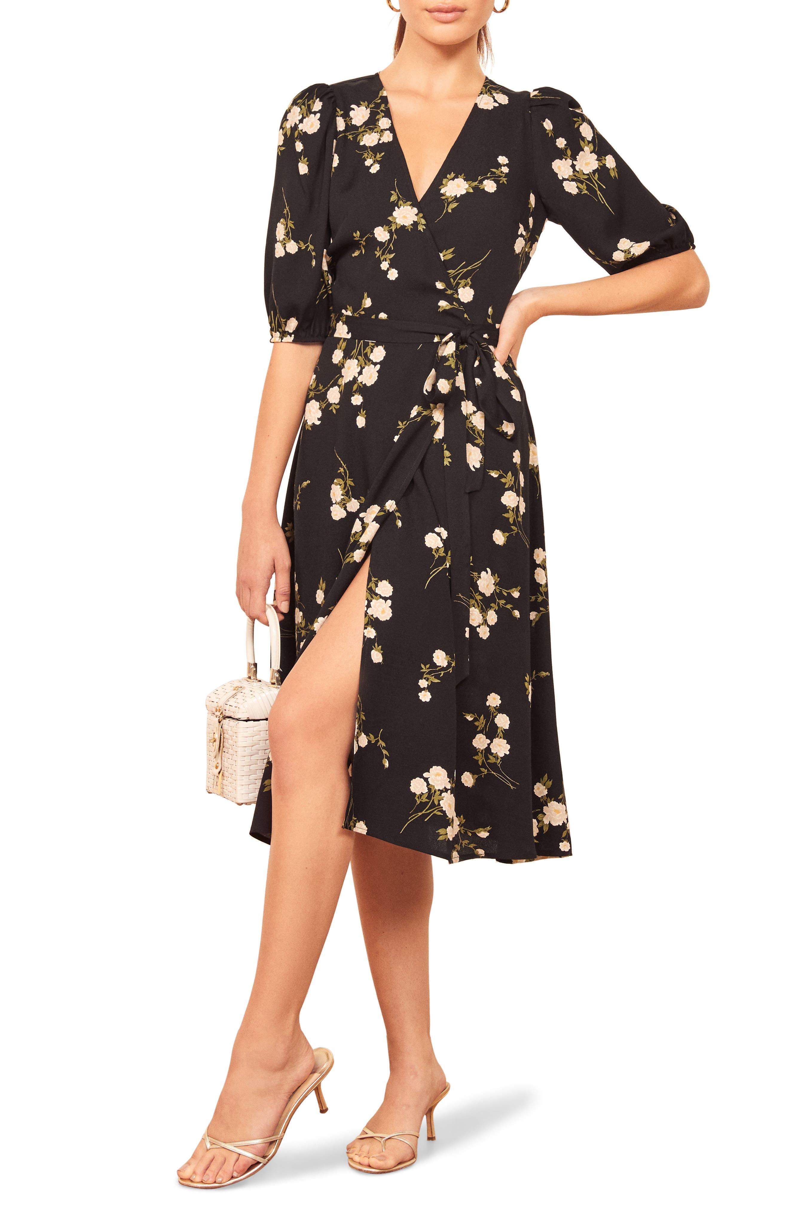 1940s Tea Dresses, Mature, Mrs. Long Sleeve Dresses Womens Reformation Christa Puff Sleeve Wrap Dress $218.00 AT vintagedancer.com