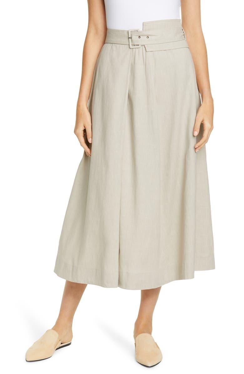 FABIANA FILIPPI Belted Stretch Linen & Cotton Midi Skirt, Main, color, 260