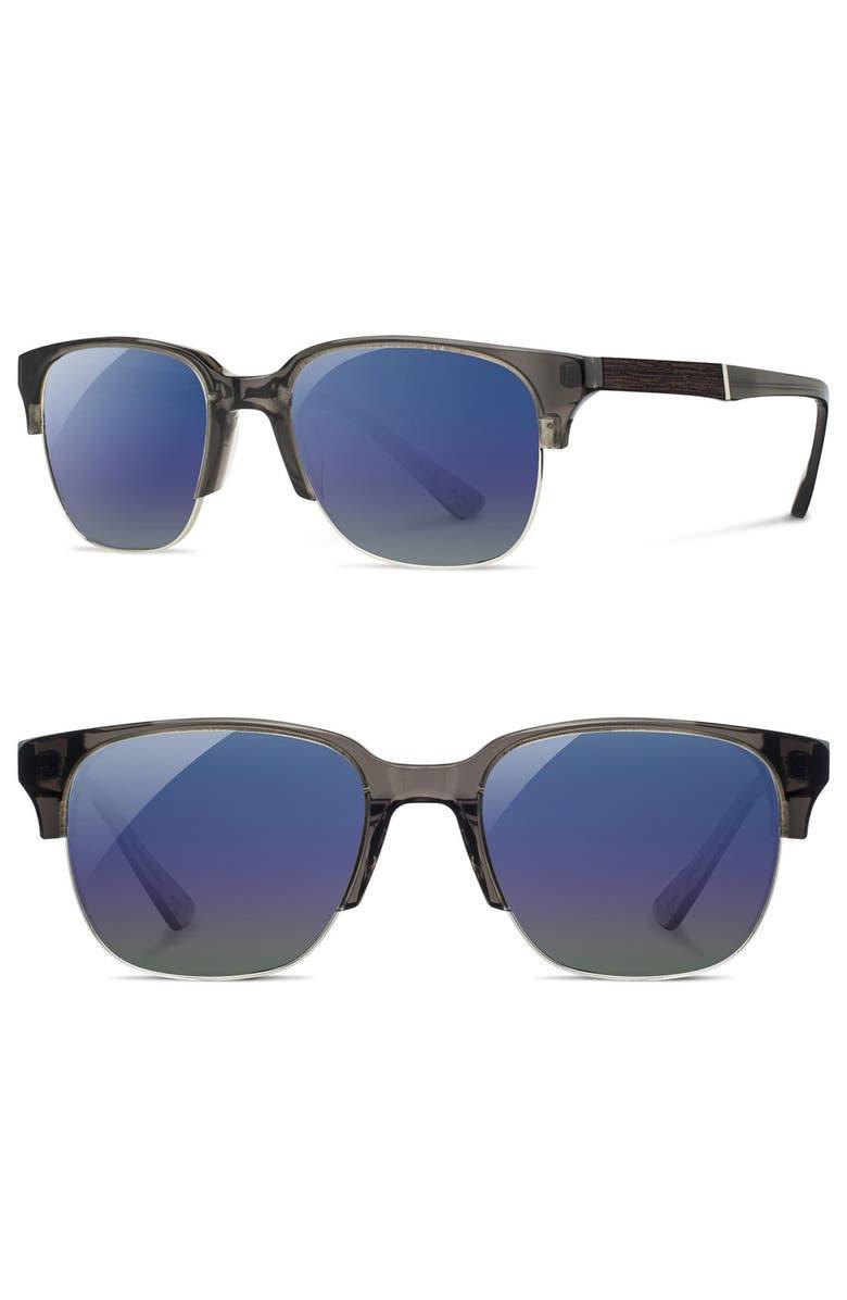 SHWOOD 'Newport' 52mm Polarized Sunglasses, Main, color, CHARCOAL/ ELM/ BLUE