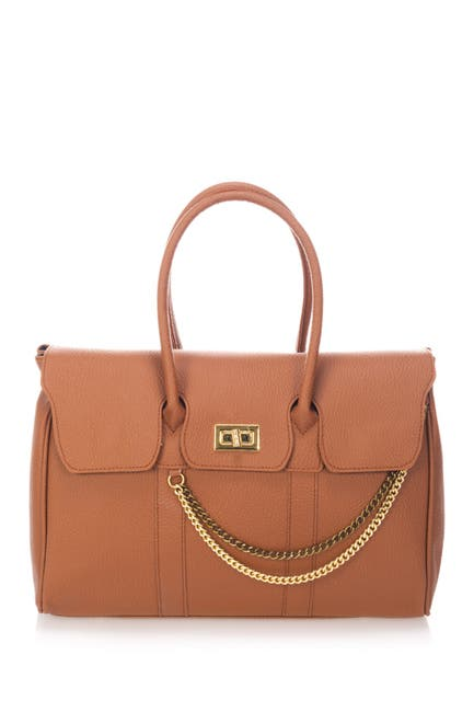 Image of Massimo Castelli Chain Detail Leather Satchel