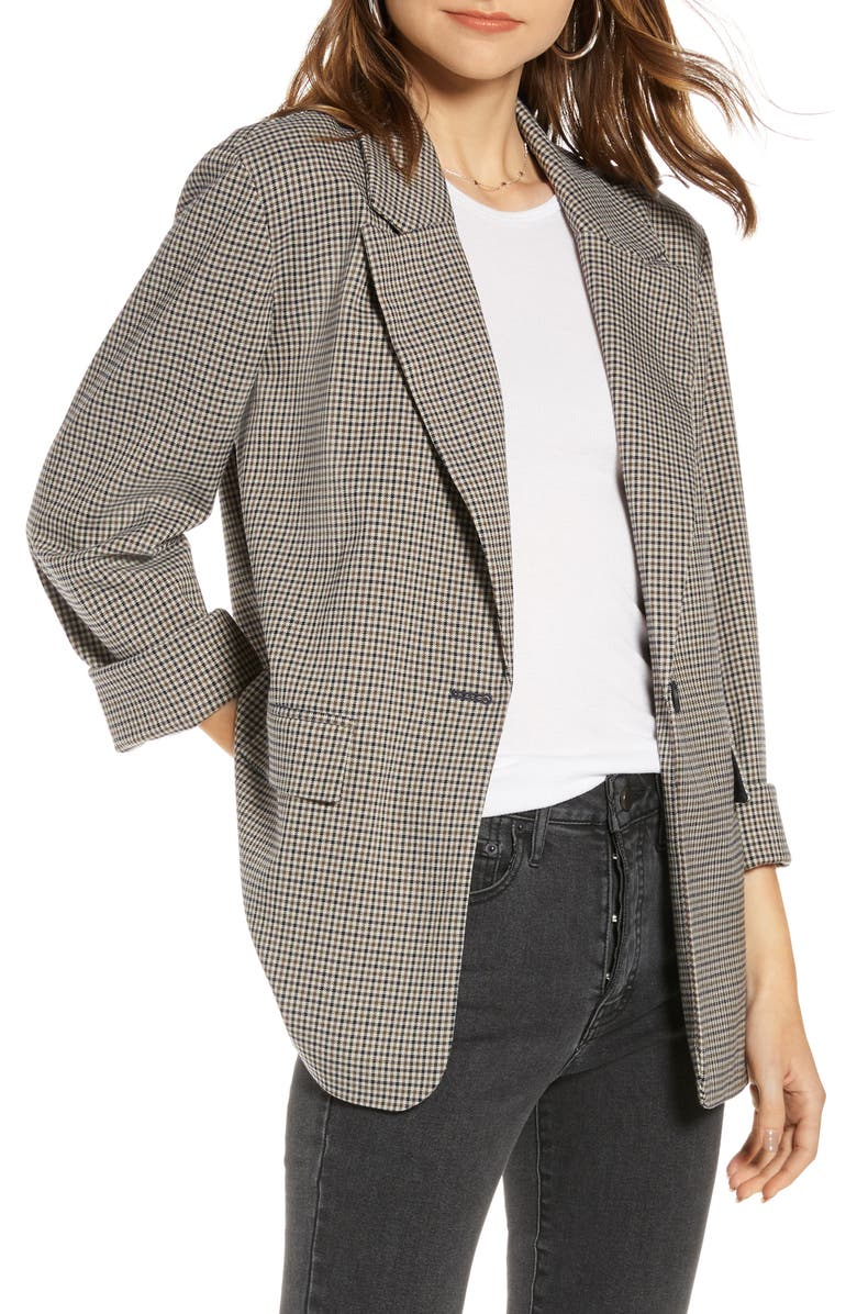 TREASURE & BOND Plaid Oversize Jacket, Main, color, GREY THREE COLOR PLAID