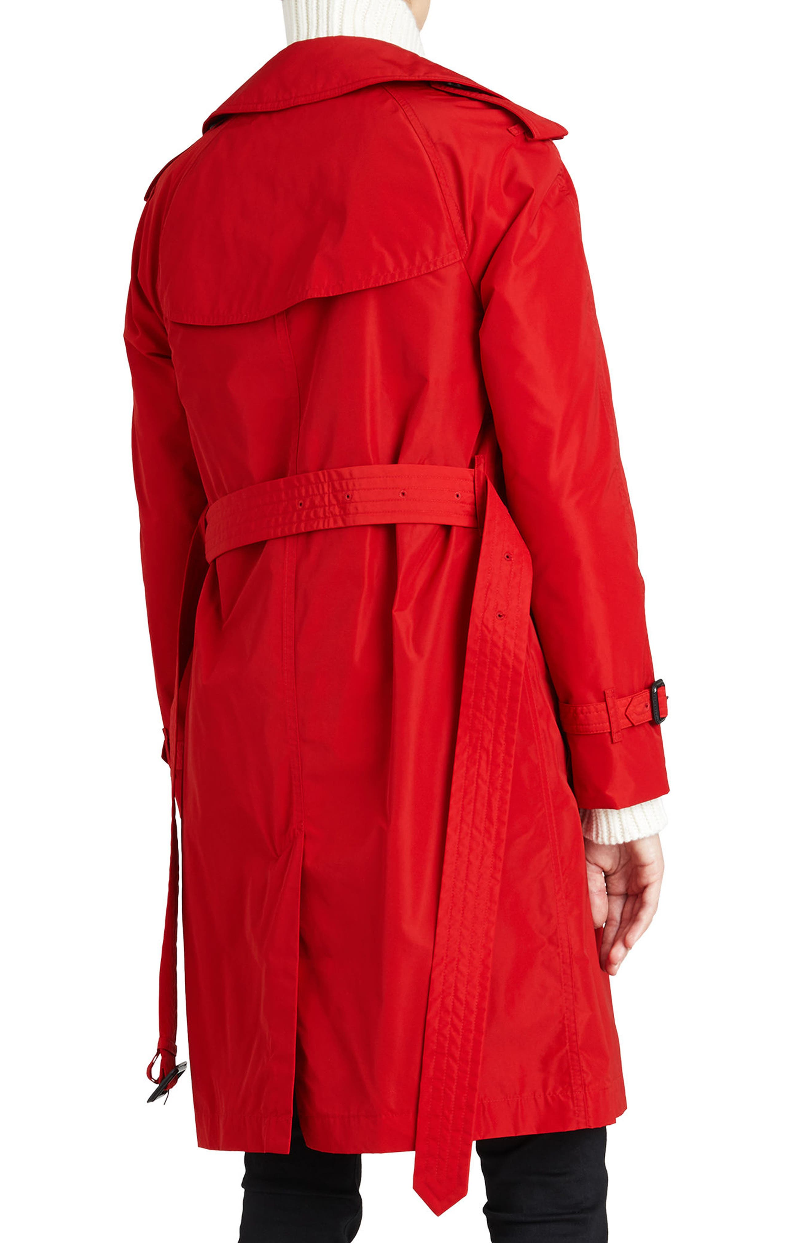 ,                             Amberford Taffeta Trench Coat with Detachable Hood,                             Alternate thumbnail 2, color,                             MILITARY RED