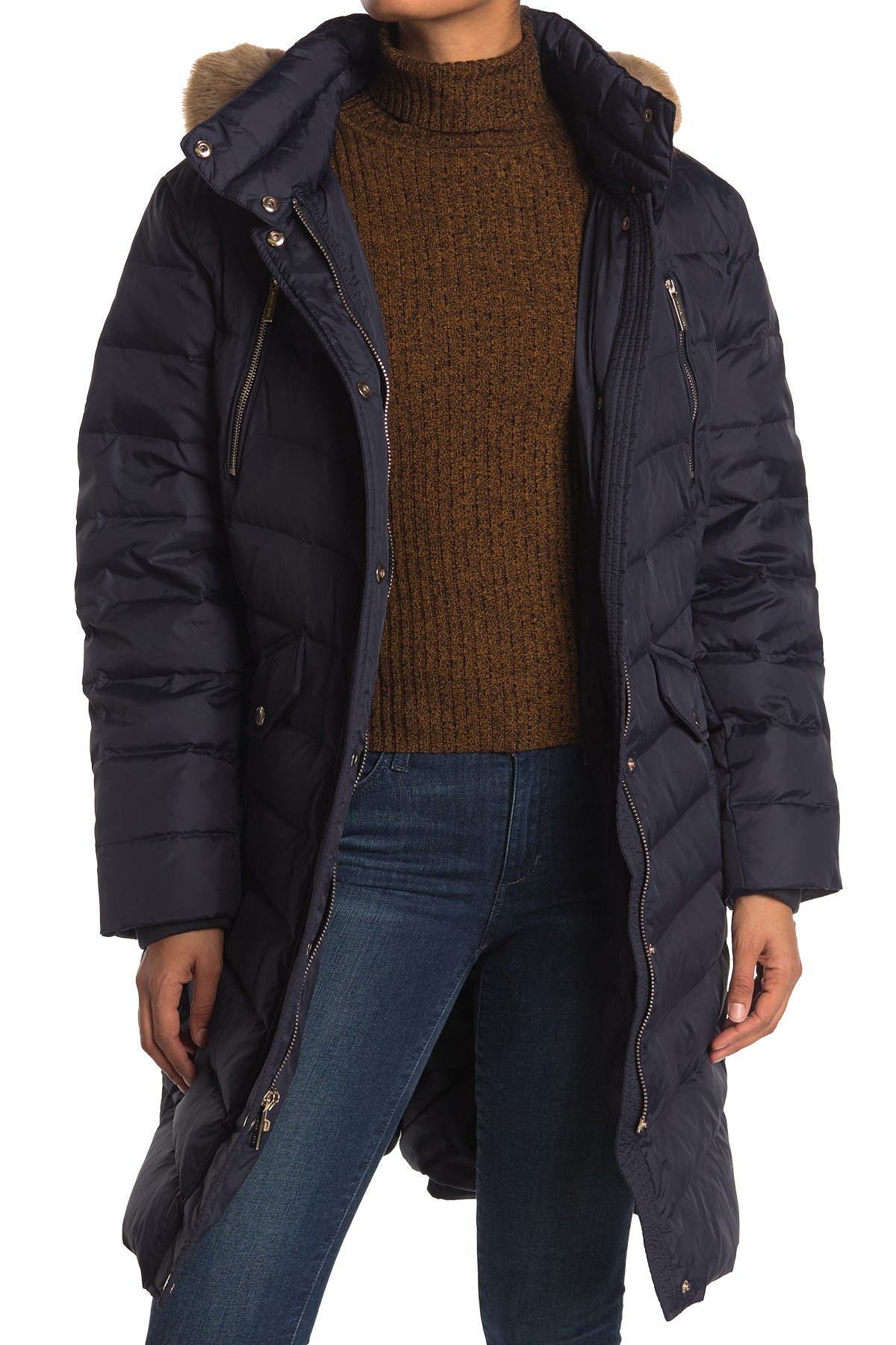 Image of Michael Kors Quilted Faux Fur Trim Parka