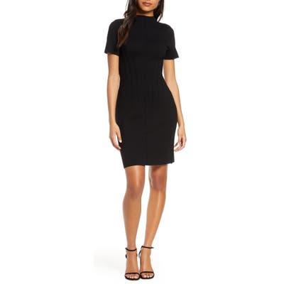 Eliza J Funnel Neck Sweater Dress, Black