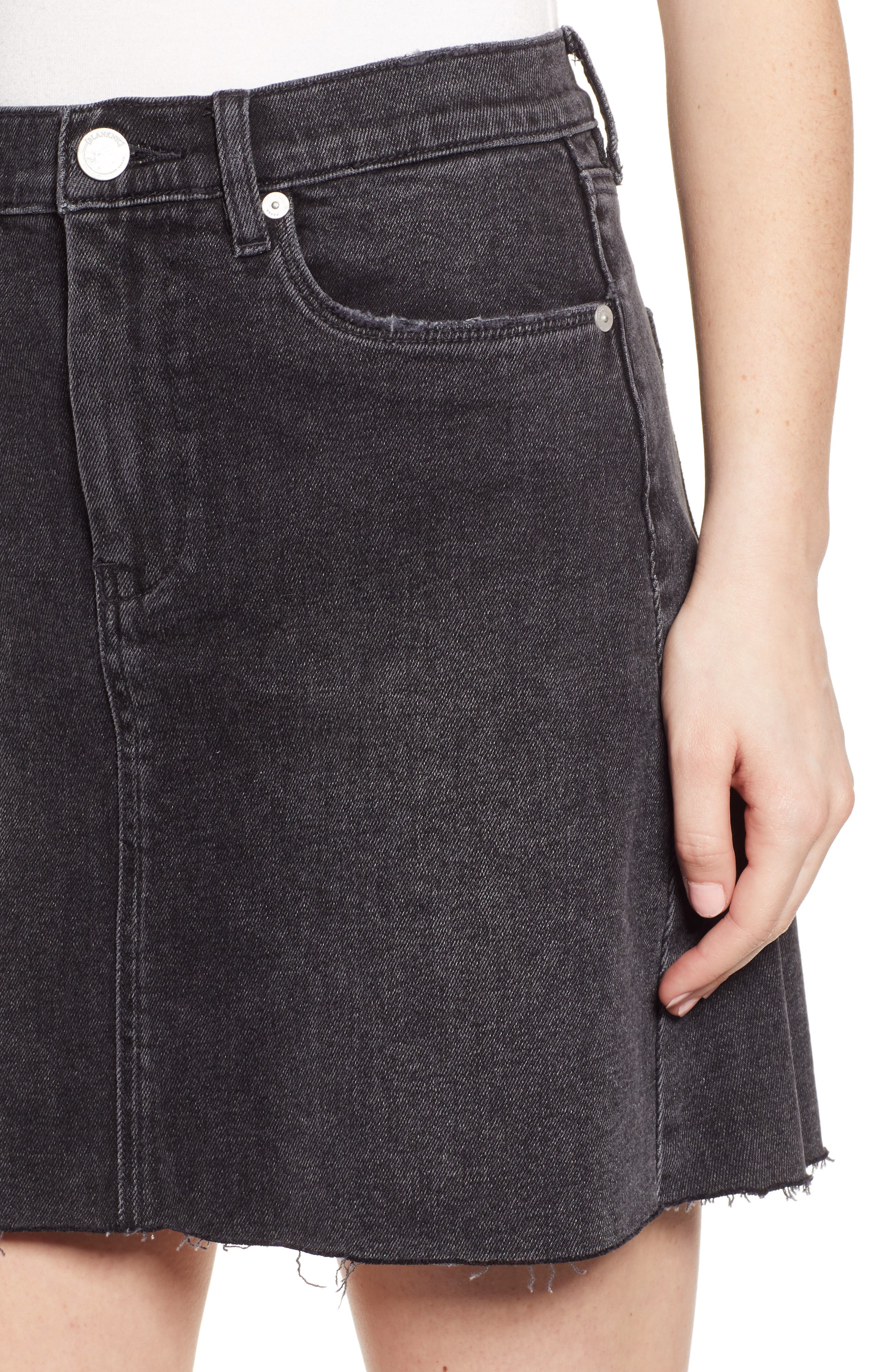 ,                             Raw Hem Denim Skirt,                             Alternate thumbnail 5, color,                             BEFORE AND AFTER