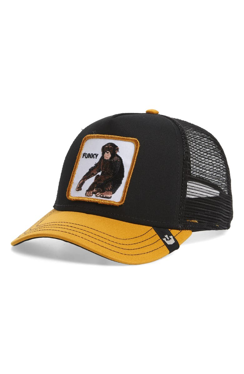 GOORIN BROS. Funky Monkey Trucker Hat, Main, color, BLACK