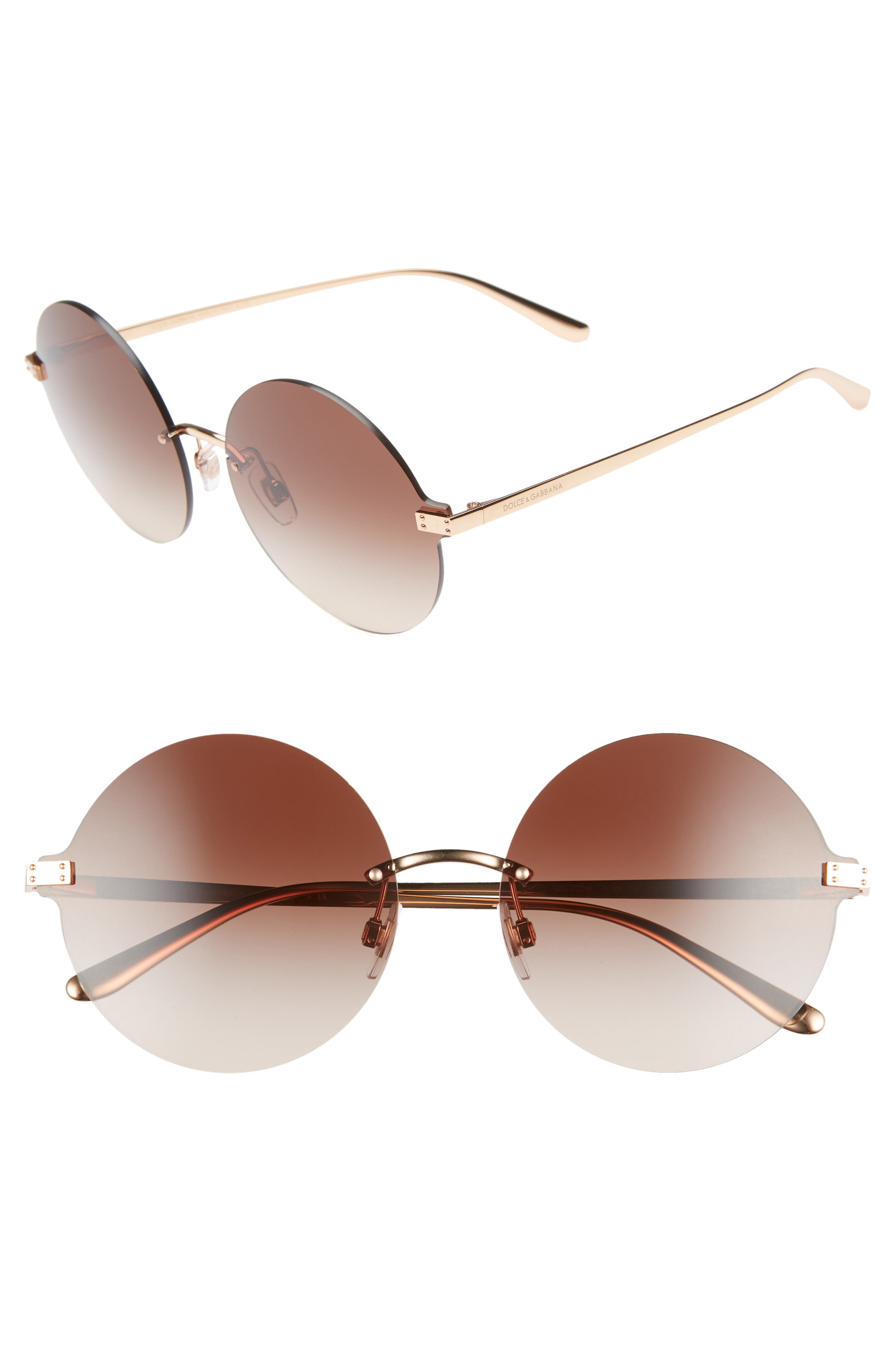 62mm Oversize Gradient Rimless Round Sunglasses, Main, color, BROWN/ GOLD