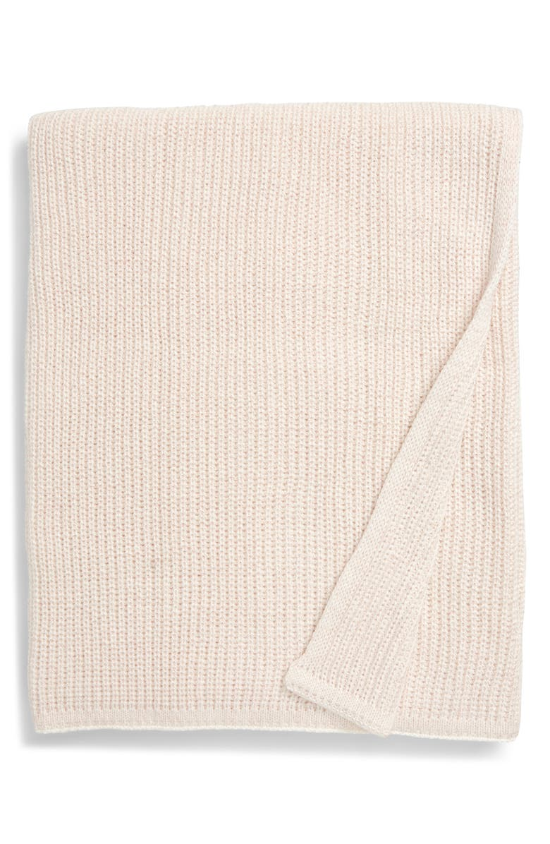 RACHEL PARCELL Metallic Detail Knit Throw Blanket, Main, color, PINK WISP