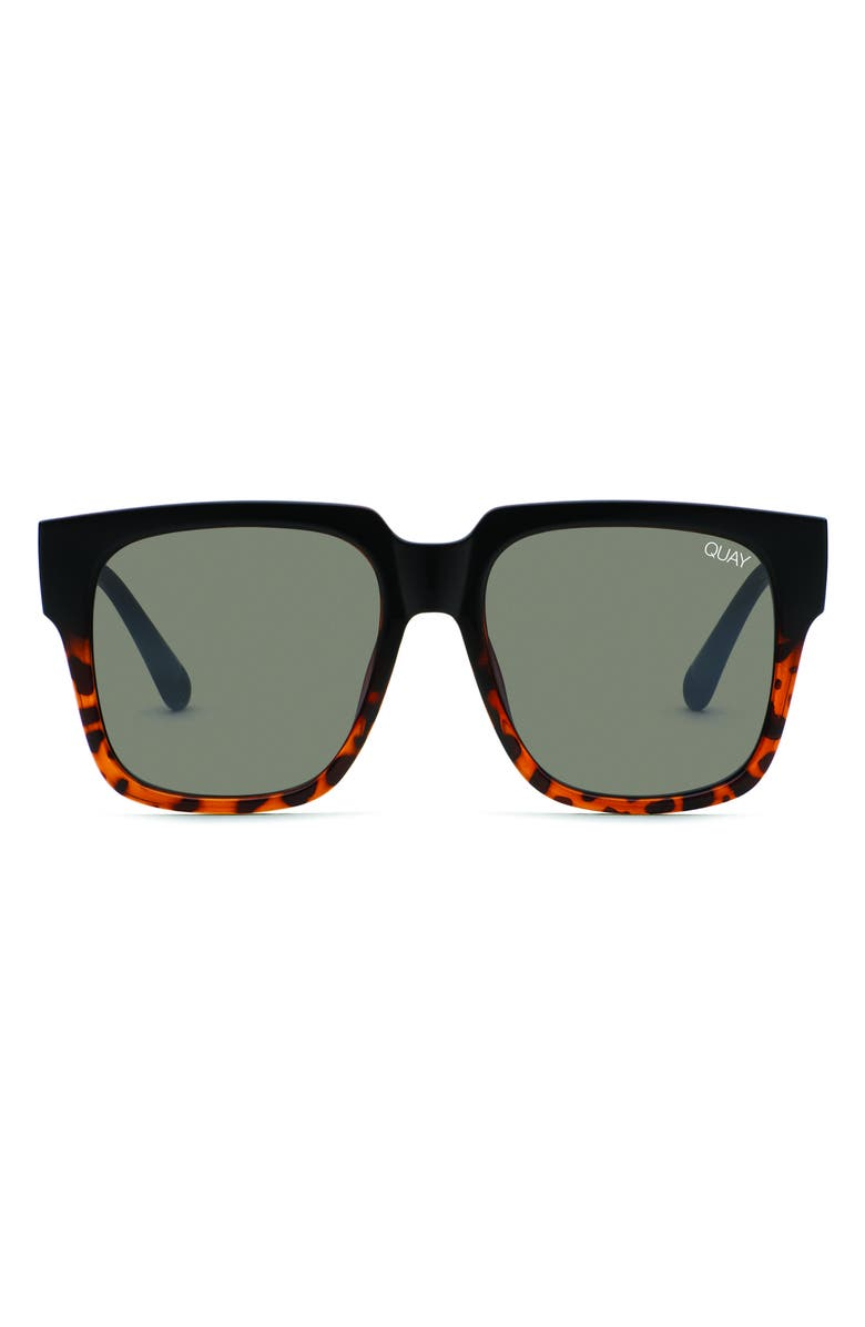 QUAY AUSTRALIA 'On the Prowl' 55mm Square Sunglasses, Main, color, BLACK TORT/ SMOKE FLASH