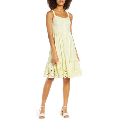 French Connection Ancolie Sleeveless Broderie Sundress, Yellow
