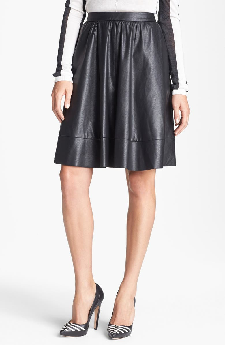 SEARCH FOR SANITY Faux Leather A-Line Skirt, Main, color, 001