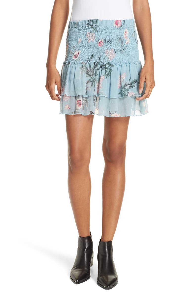 DOLAN Flutter Chiffon Silk Miniskirt, Main, color, 460