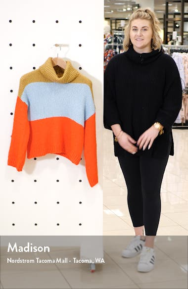 Chunky Colorblock Turtleneck Sweater, sales video thumbnail