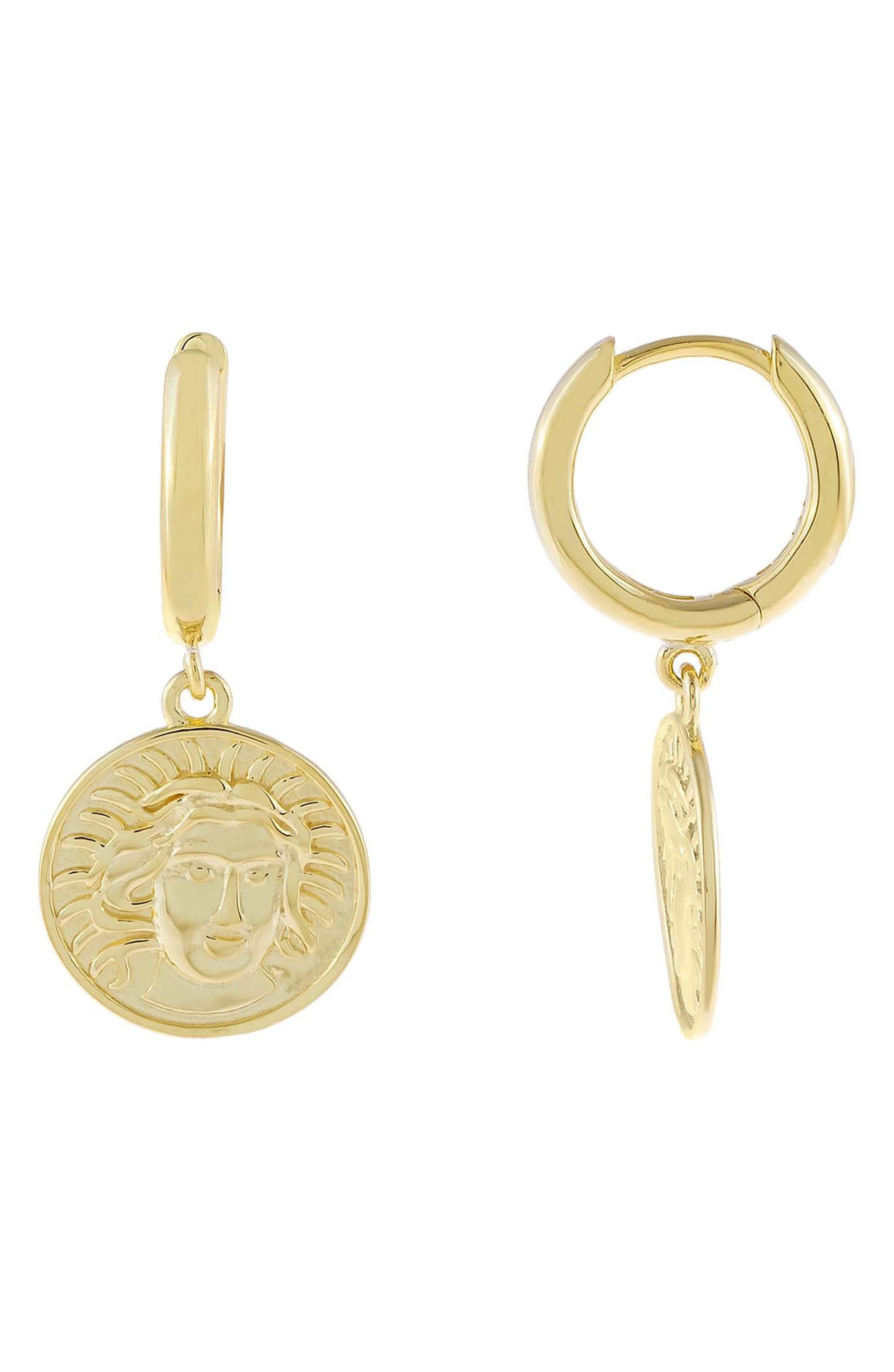 Women's Adina's Jewels Mini Coin Huggie Hoop Earrings