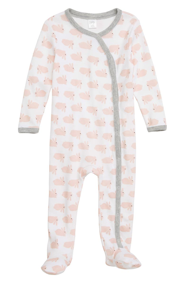NORDSTROM BABY Print Footie, Main, color, WHITE- PINK BUNNY
