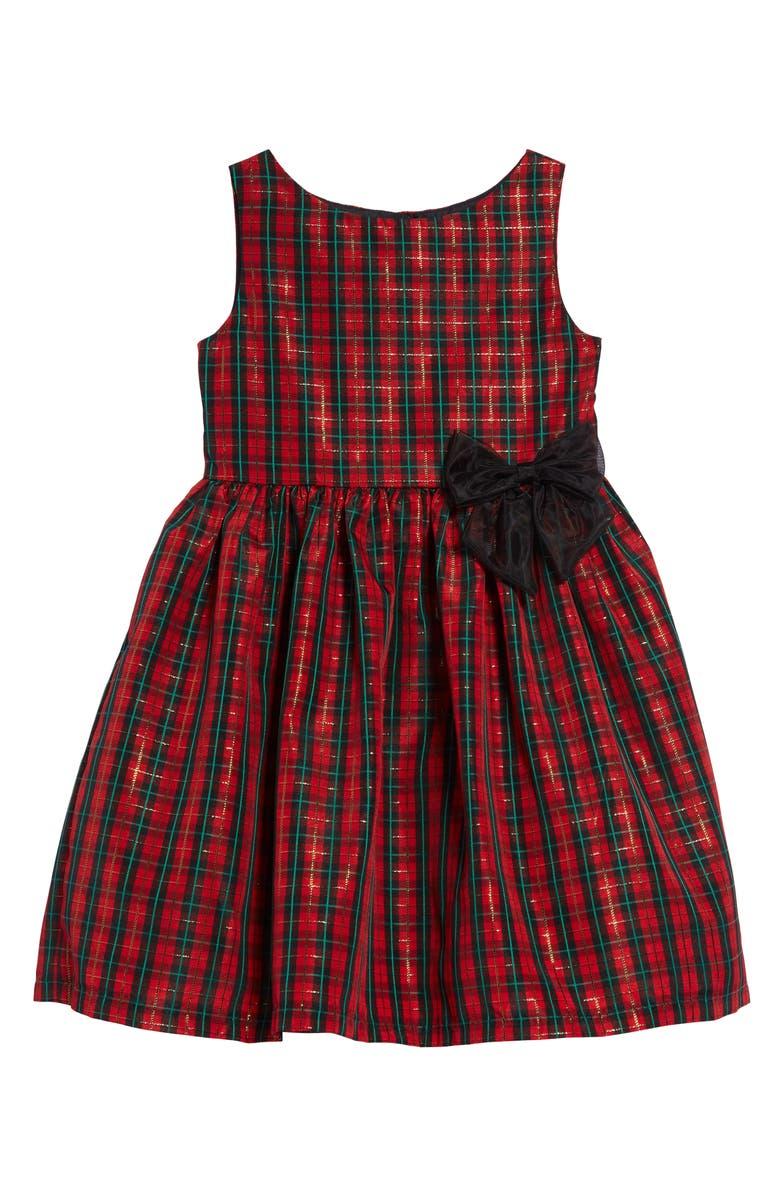 FRAIS Tartan Plaid Fit & Flare Dress, Main, color, RED