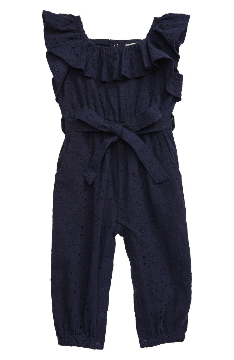 HABITUAL Eyelet Ruffle Cotton Jumpsuit, Main, color, 410