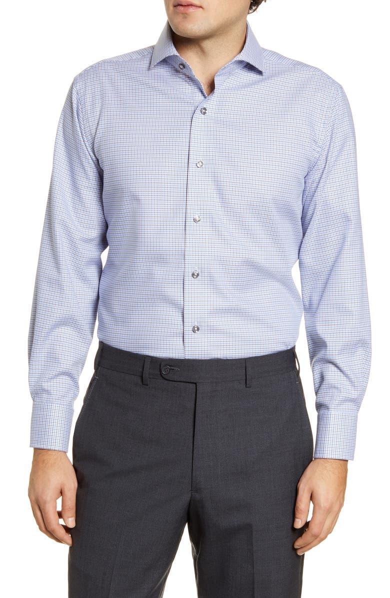 LORENZO UOMO Trim Fit Non-Iron Houndstooth Dress Shirt, Main, color, 450