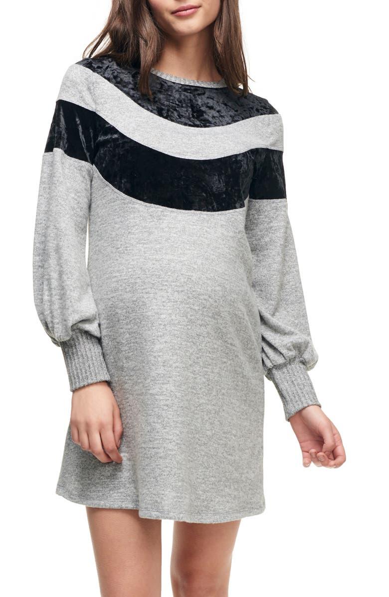 MATERNAL AMERICA Velvet Stripe Maternity Sweater Dress, Main, color, HEATHER GREY/ BLACK