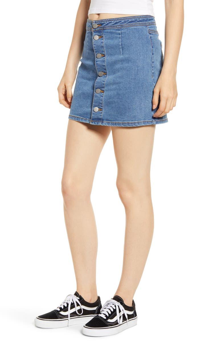 TINSEL Button Front Denim Miniskirt, Main, color, MEDIUM WASH