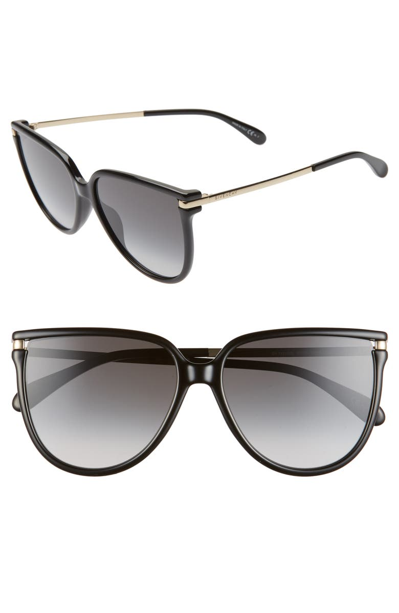 GIVENCHY 58mm Gradient Cat Eye Sunglasses, Main, color, 001