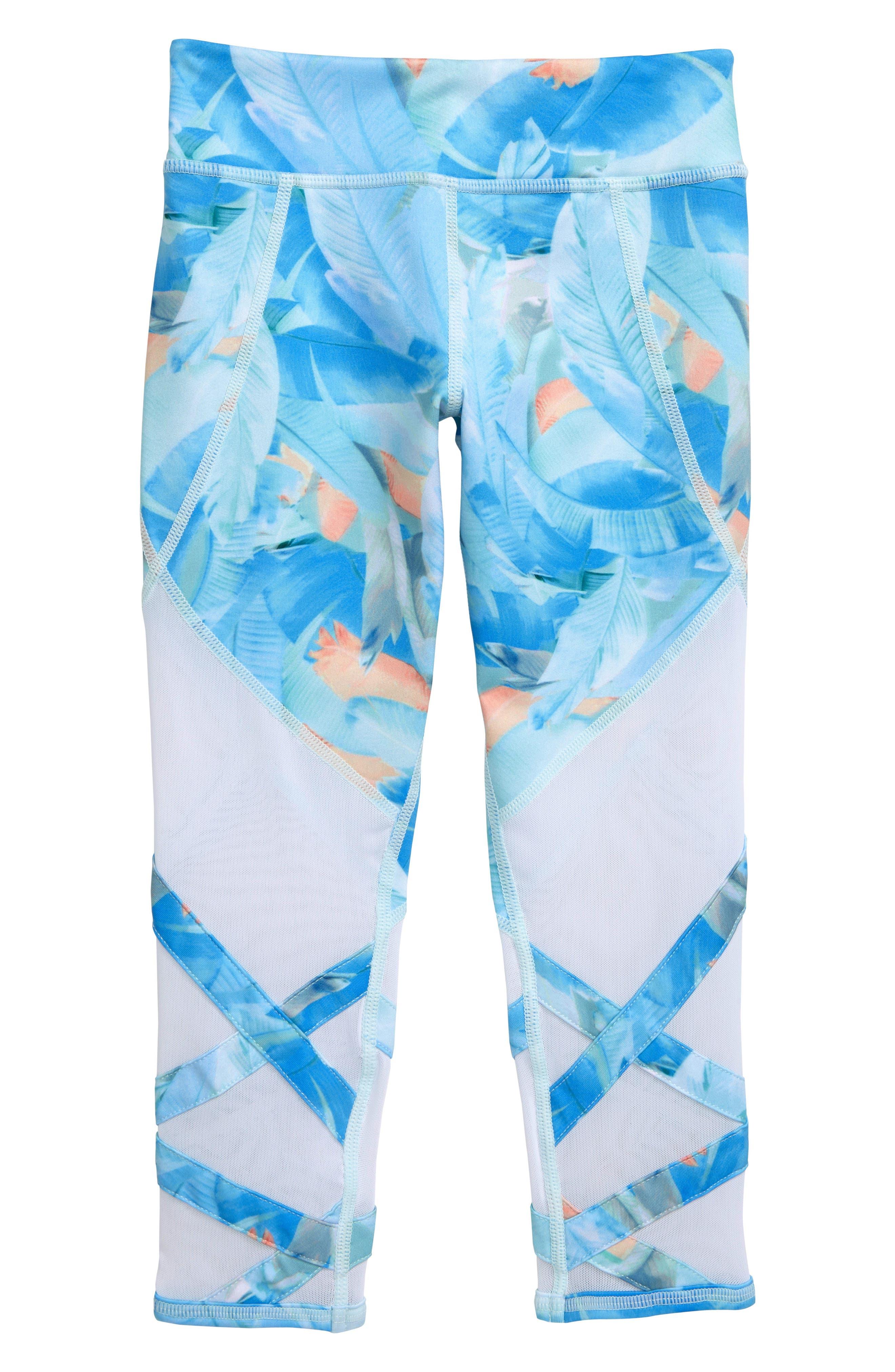 Girls Zella Girl Print Crossover Crop Leggings