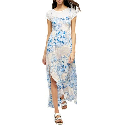 Free People Forever Yours Smocked Slipdress, Blue