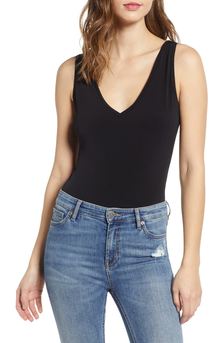 LEITH V-Neck Bodysuit, Main, color, BLACK