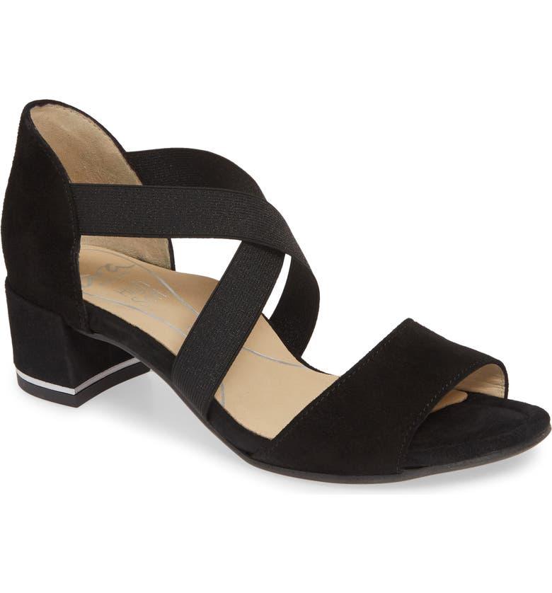 ARA Georgette Cross Strap Sandal, Main, color, BLACK SUEDE