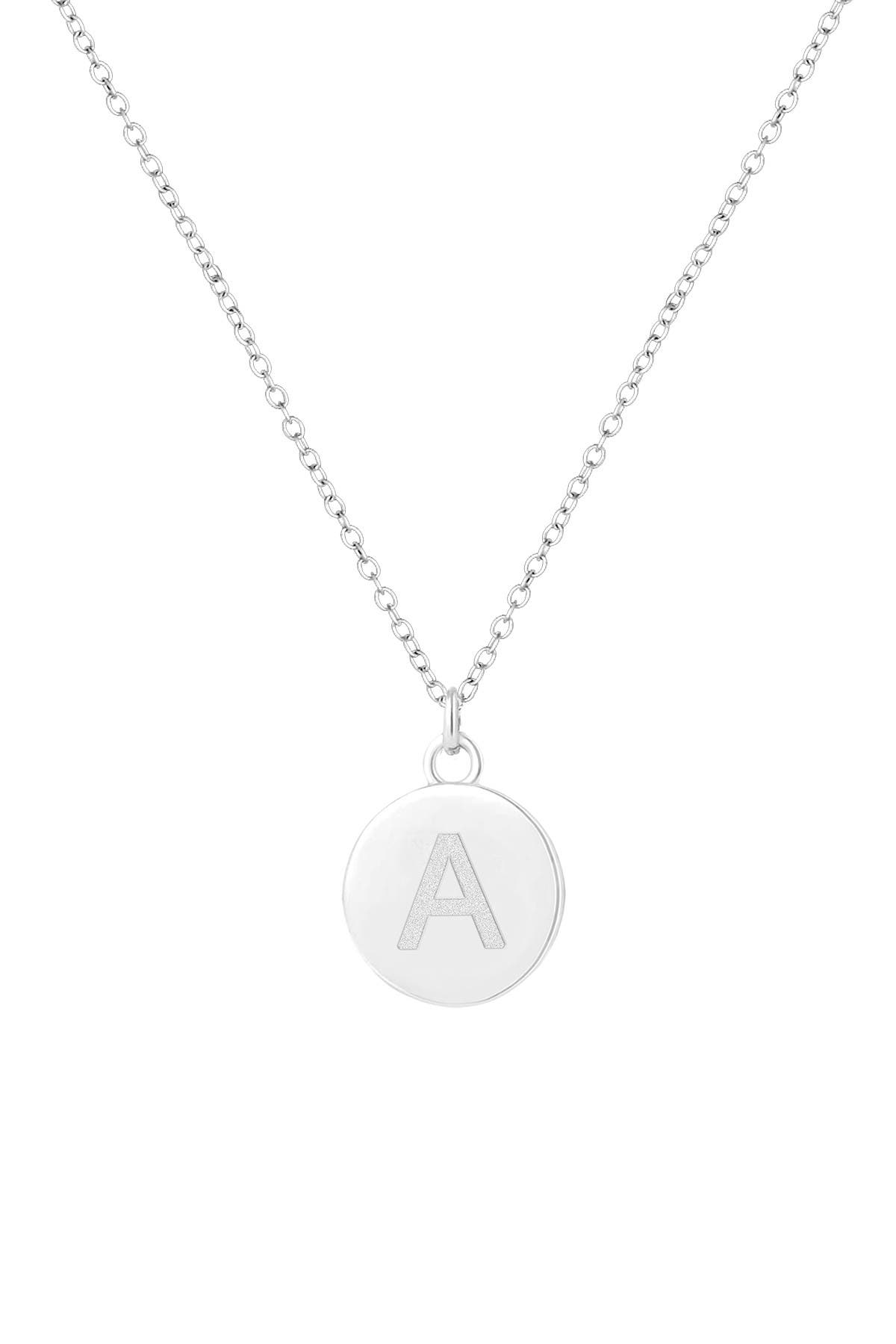 Image of Savvy Cie Sterling Silver 12mm Initial Pendant Necklace