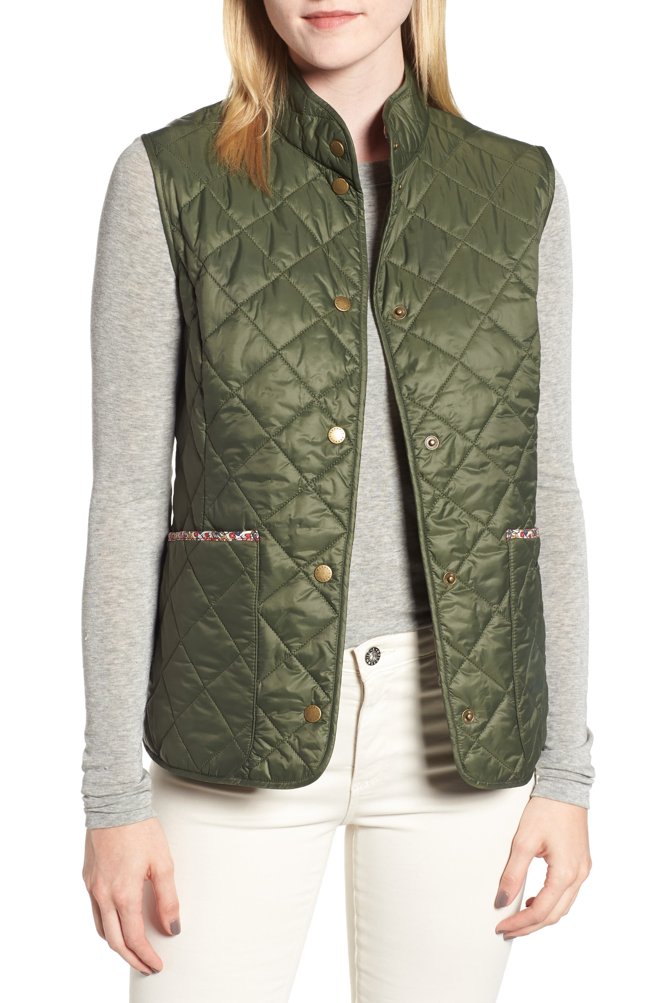 Barbour X Liberty Camila Quilted Vest, US / 8 UK - Green (Nordstrom Exclusive)