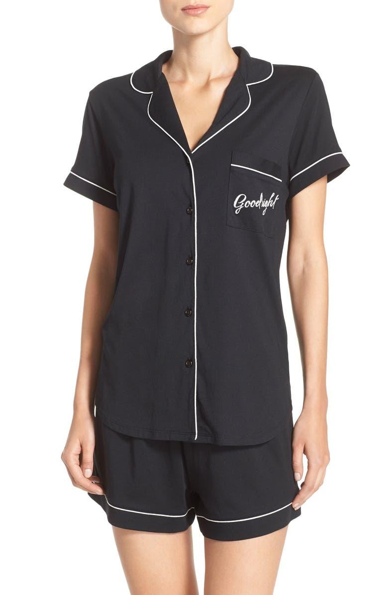 KATE SPADE NEW YORK jersey short pajamas, Main, color, 001