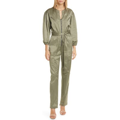 Rebecca Taylor Long Sleeve Sateen Jumpsuit, Green