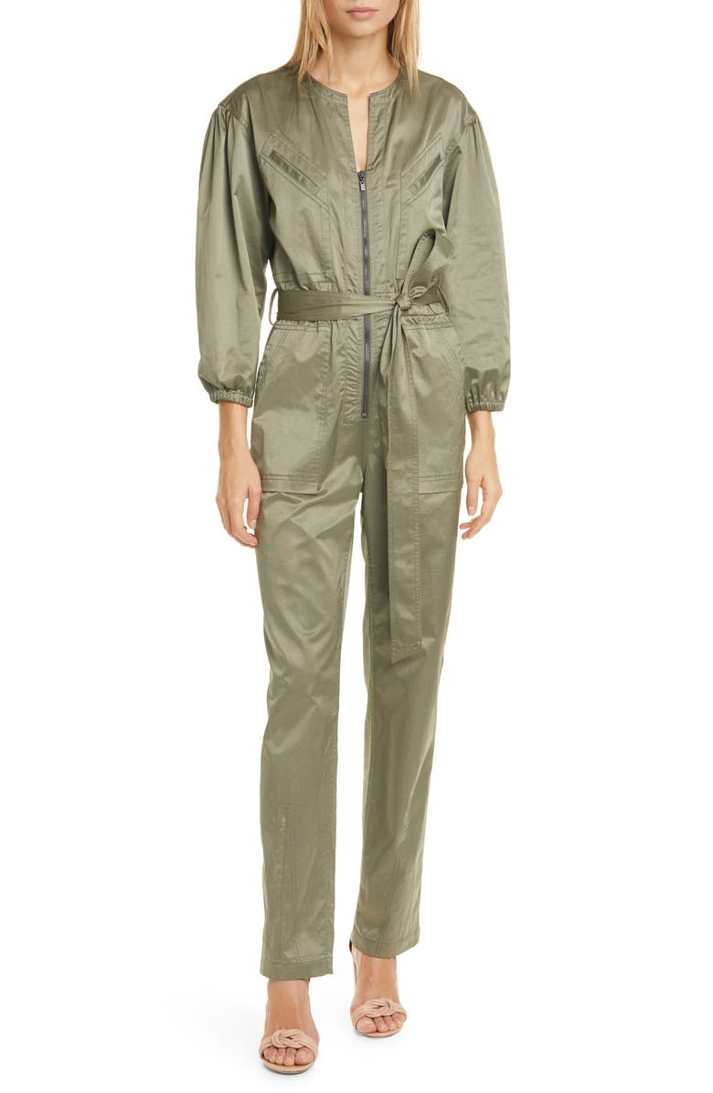 REBECCA TAYLOR Long Sleeve Sateen Jumpsuit, Main, color, ARMORY
