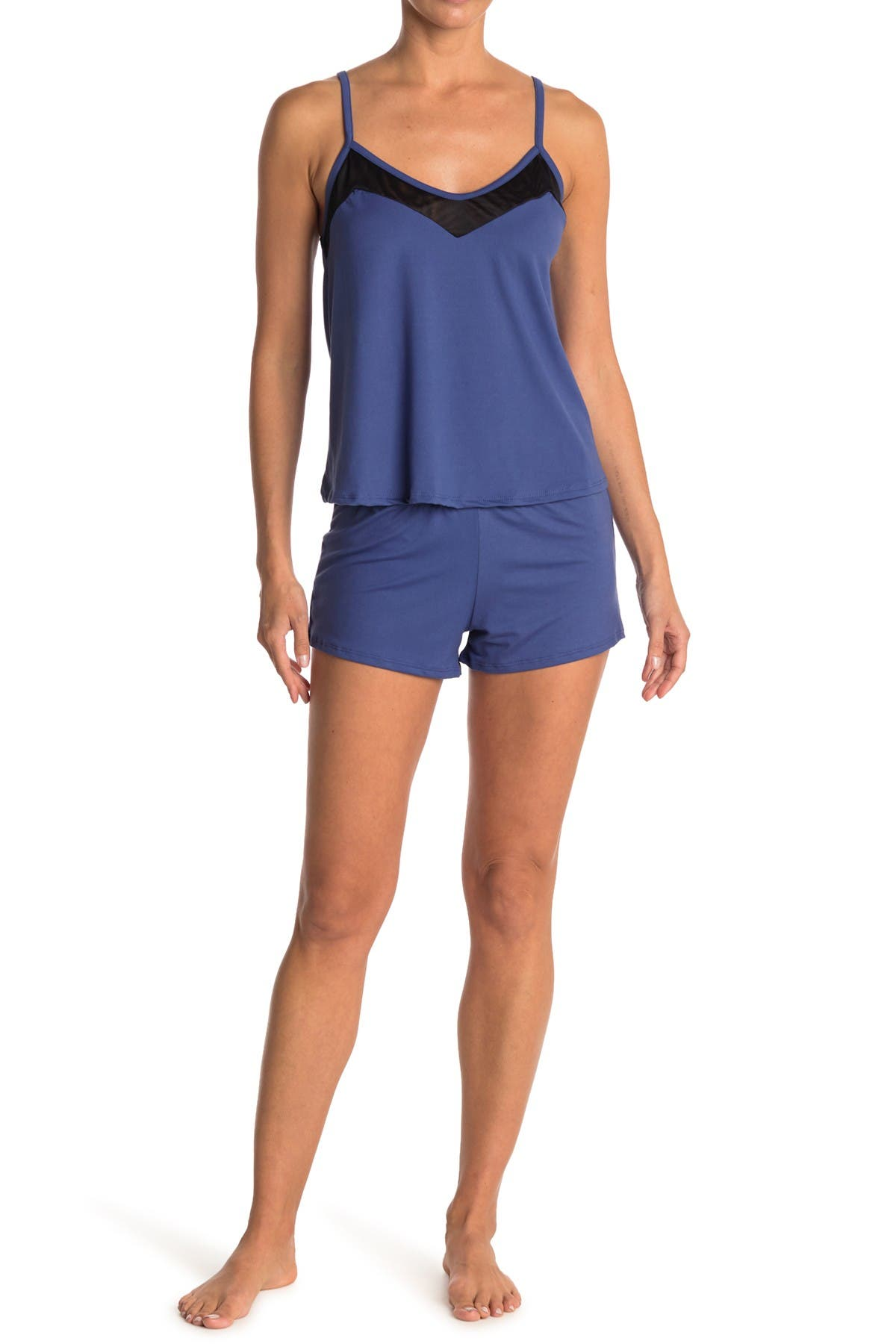 Image of COZY ROZY Mesh Camisole & Short 2-Piece Pajama Set
