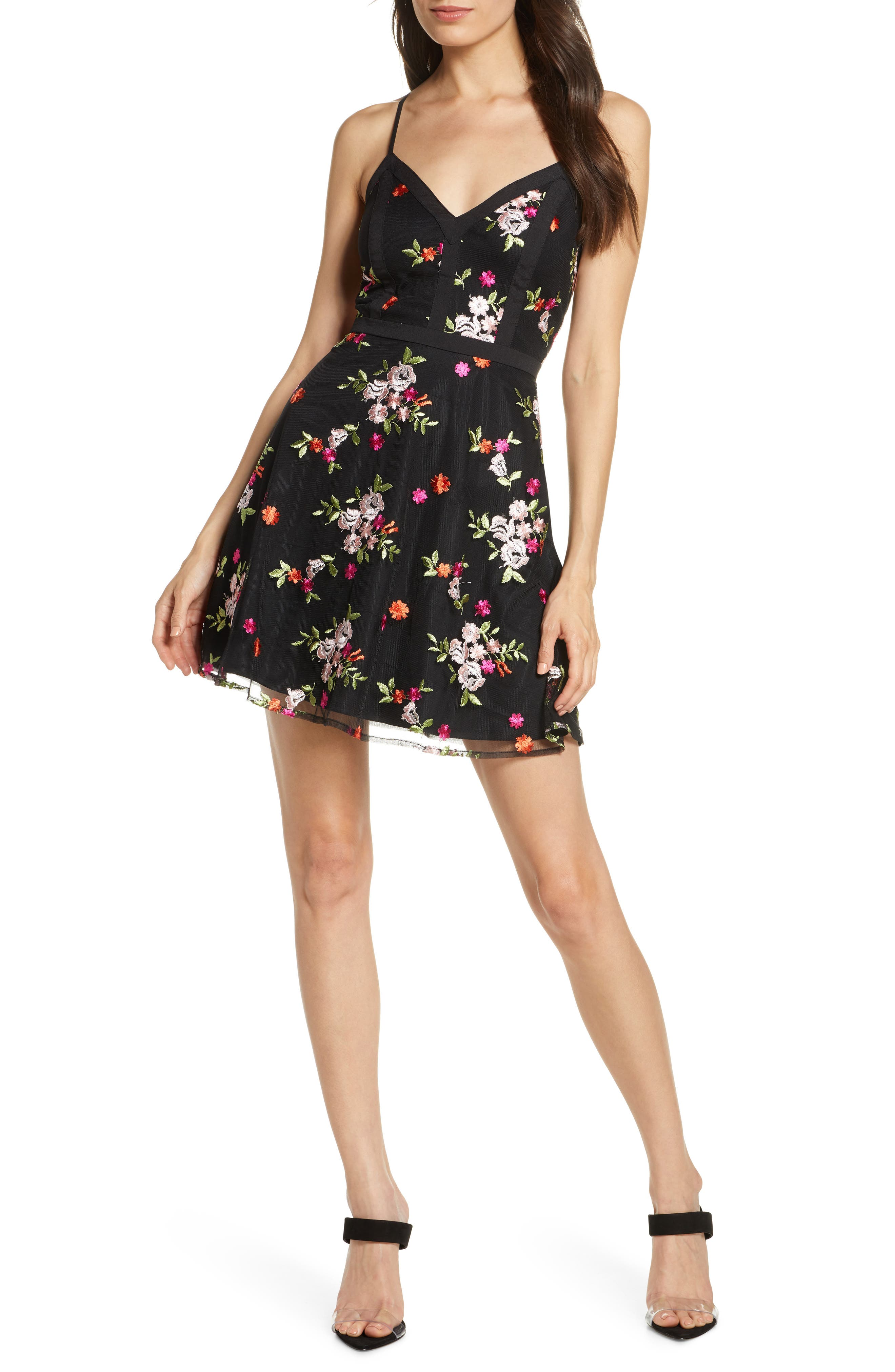 Lulus Love Poem Embroidered Party Dress, Black