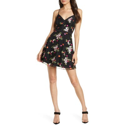 Lulus Love Poem Embroidered Party Minidress, Black