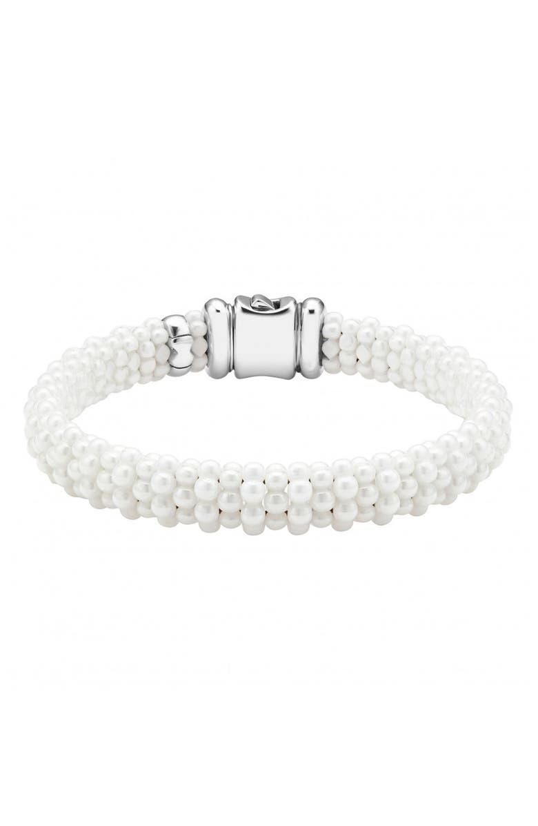 LAGOS 'White Caviar' Rope Bracelet, Main, color, 040