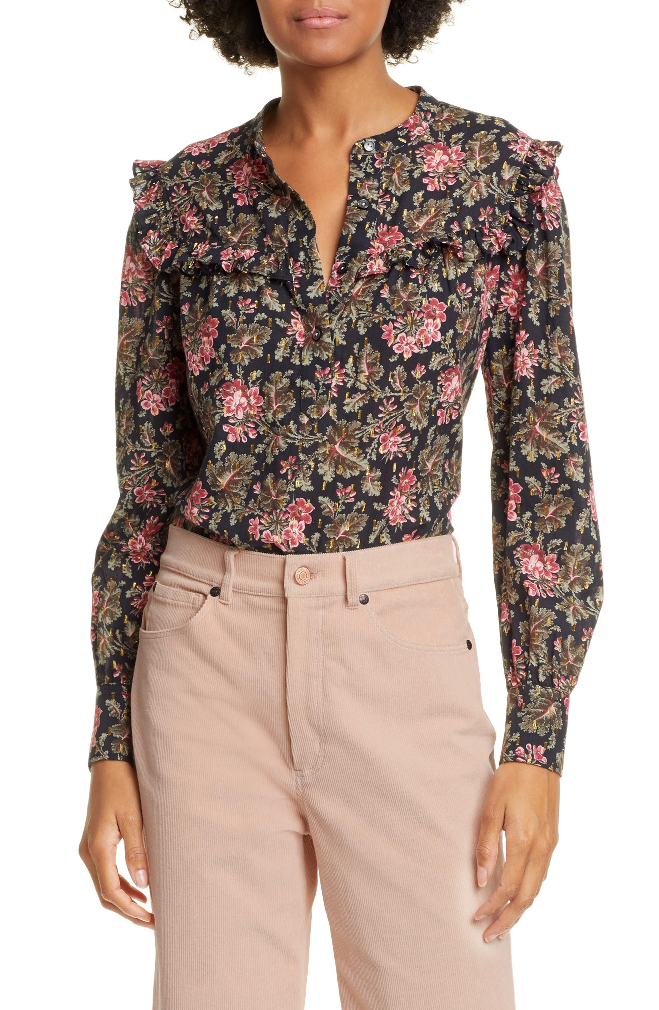 La Vie Rebecca Taylor Chouette Floral Metallic Detail Long Sleeve Cotton Shirt