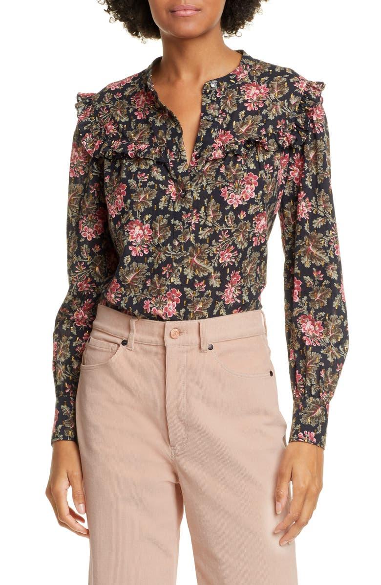 LA VIE REBECCA TAYLOR Chouette Floral Metallic Detail Long Sleeve Cotton Shirt, Main, color, BLACK COMBO