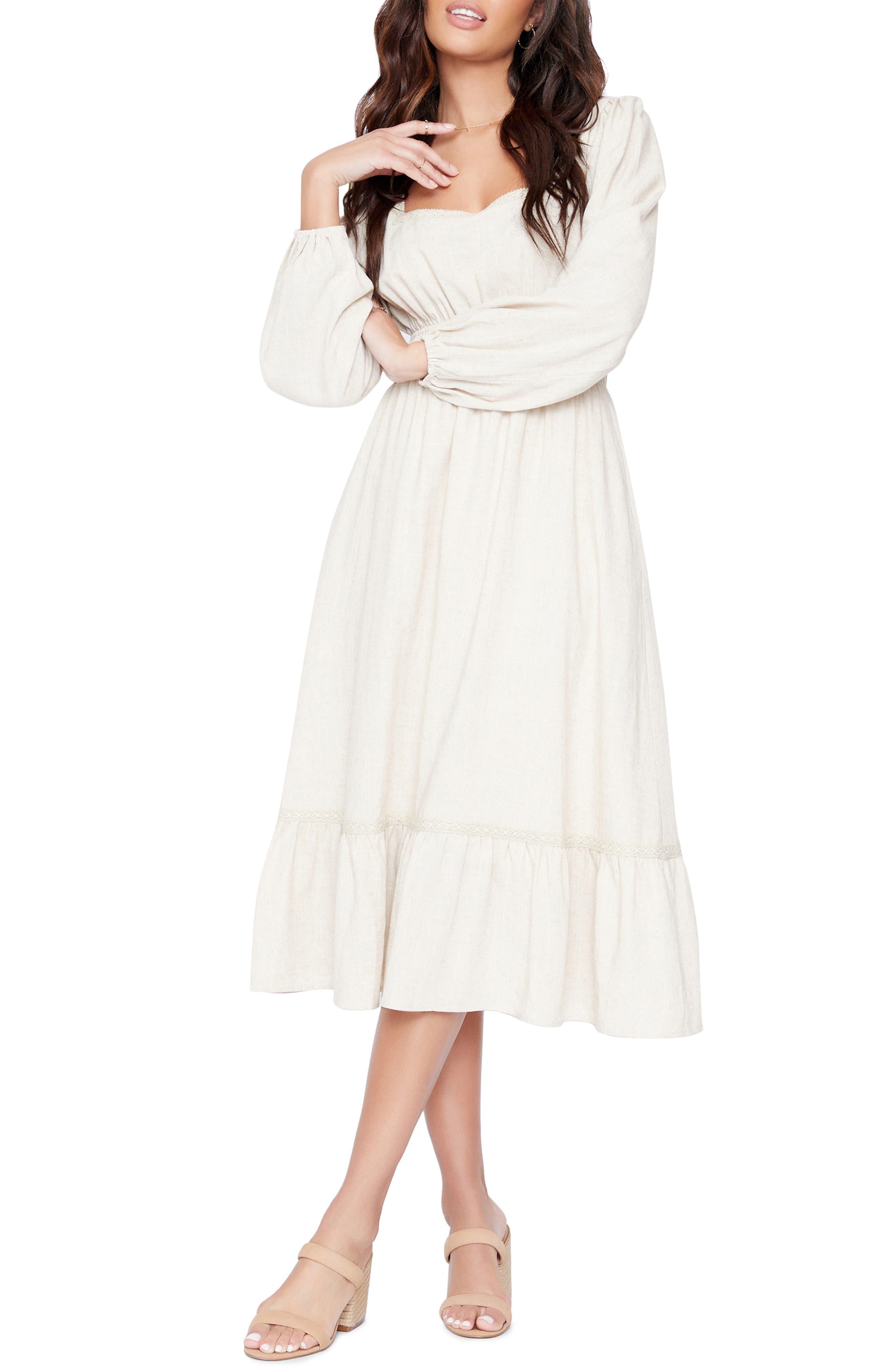 Women's Lost + Wander Easy Breezy Long Sleeve Cotton Blend Midi Dress